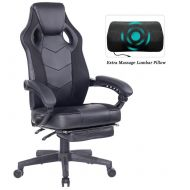 Ergonomic Gaming Chair with Seat Height Adjustable Swivel Recliner with Retractable Footrest 9013