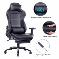 Ergonomic Gaming Chair with Electric Massage Lumbar Pillow and Retractable Footrest 8263