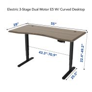 Height Adjustable Desks with Curved Desktop Option Dimension
