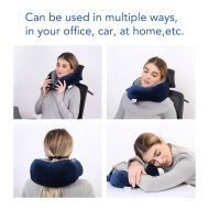 FLEXISPOT 100% Pure Memory Foam Blue Comfort Neck Pillow Neck Cushion Travel Pillow for Airplane Train Travel and Office Rest to Relieve Neck Pain and Relax