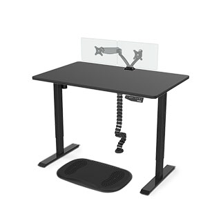 Favorite Combo: Standing Desk + Cable Spine + Anti Fatigue Mat + Dual Monitor Mount