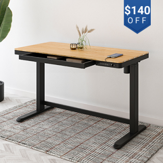 """Comhar All-in-One Standing Desk Bamboo Texture Top - 48"""" W"""
