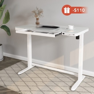 """Comhar All-in-One Standing Desk Glass Top - 48"""" W"""