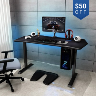 """Electric Height Adjustable Gaming Desk - 55"""" W"""