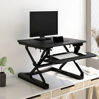 "FlexiSpot Stand Up Desk - 27"" wide Height-Adjustable Standing Desk Riser with Removable wider keyboard tray"
