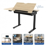 Height Adjustable Drafting Table with Tiltable Tabletop