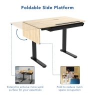 Height Adjustable Drafting Table with Foldable Side Platform
