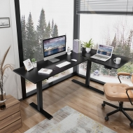 Black L Shaped Electric Standing Desk with Splice Board E1L in the office