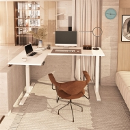 White L Shaped Electric Standing Desk at home