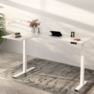 White L Shaped Electric Standing Desk with Splice Board E1L