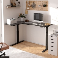 Black L Shaped Electric Standing Desk with Splice Board E1L