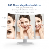 Three-paneled Mirror With 2.3 Times Magnification and Led Light MR01