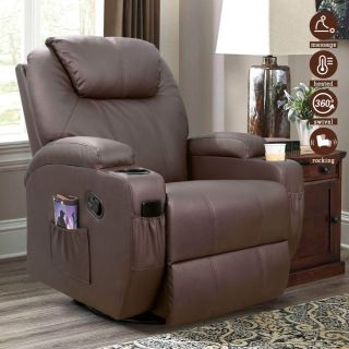 Faux Leather Recliner Swivel Single Massage Sofa Chair 1026M