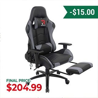 Ergonomic Gaming Chair with Retractable Footrest Ri3476