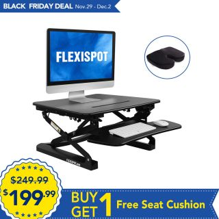 """FlexiSpot Stand Up Desk - 27"""" wide Height-Adjustable Standing Desk Riser with Removable wider keyboard tray"""