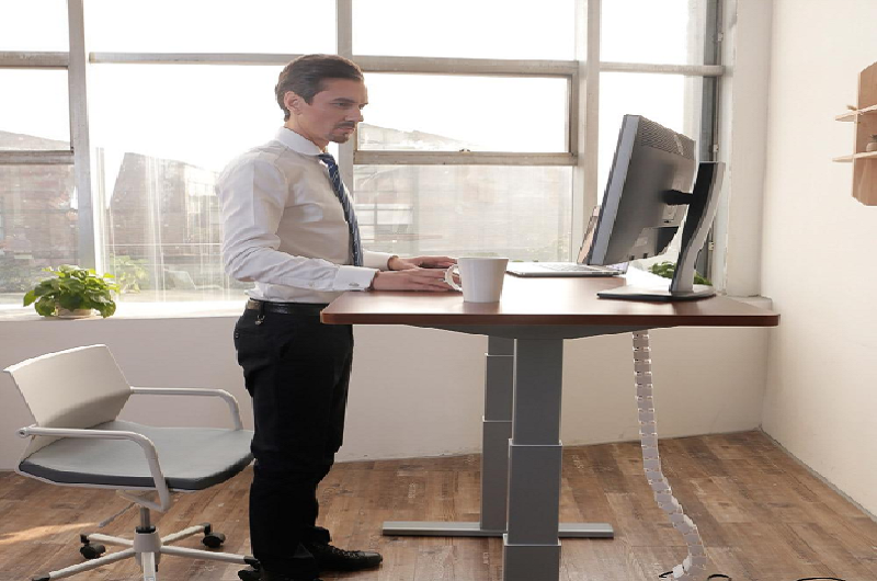Working in a standing desk