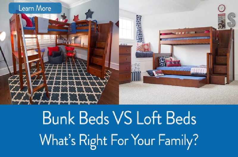 Comparison of a bunk bed against a loft bed with a desk