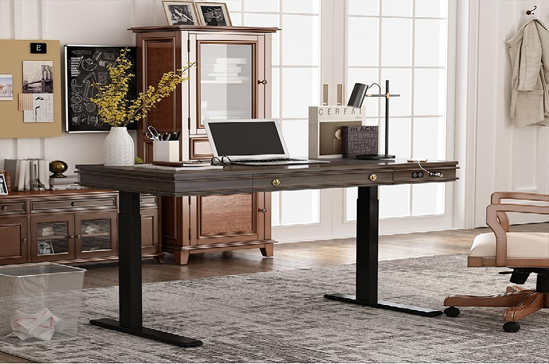 An adjustable standing desk that has all the features of a perfect work buddy at