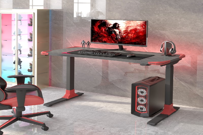 """Let the game begin.  The Electric Height Adjustable Gaming Desk -48""""W is one er"""