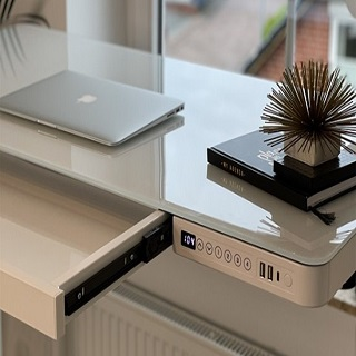 An all-in-one standing desk with glass top not only adds beauty to your workspac