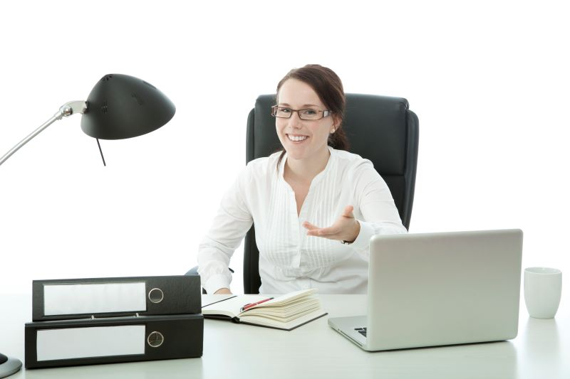 Seated office worker