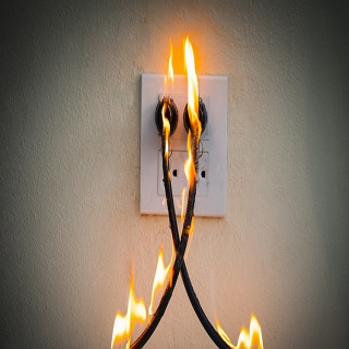 The wires are on fire because of octopus wiring