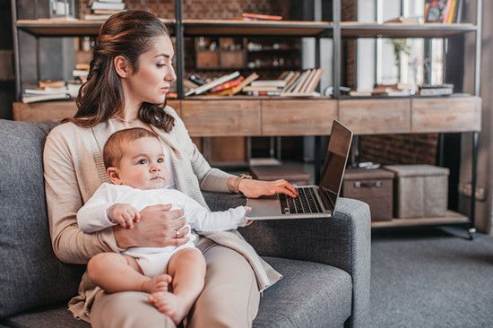 A mother is doing home business