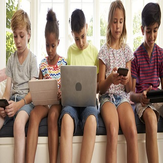 The children who enjoy playing their gadgets