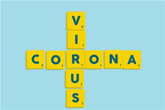 Words CORONA VIRUS on vector scrabble alphabet tiles