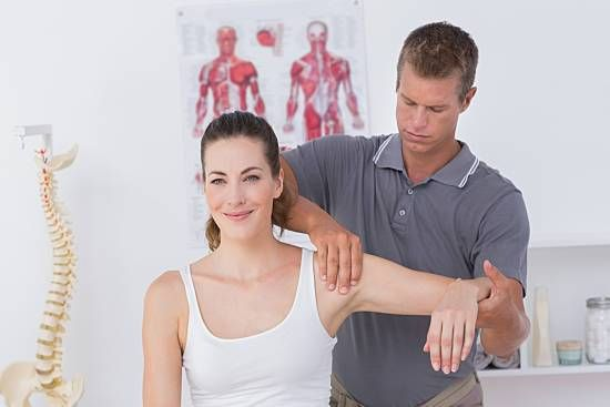 Woman at physical therapy visit