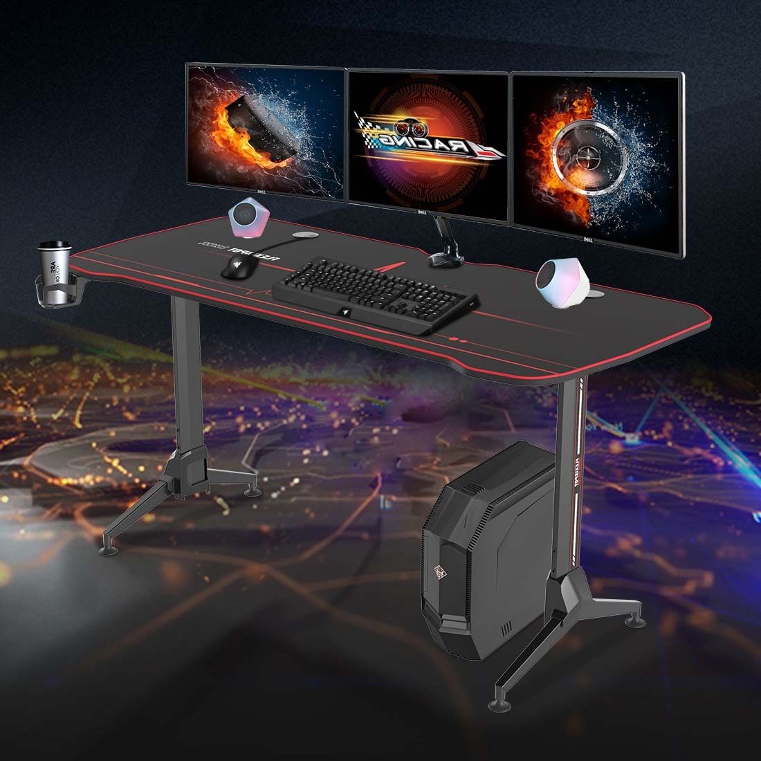 gaming desk and two people enjoying gaming
