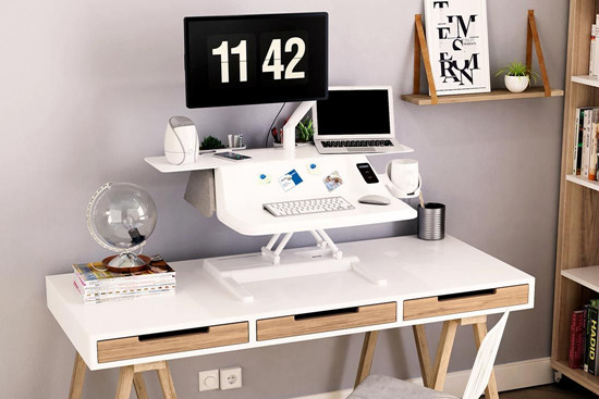 sit-stand converter with monitor arm