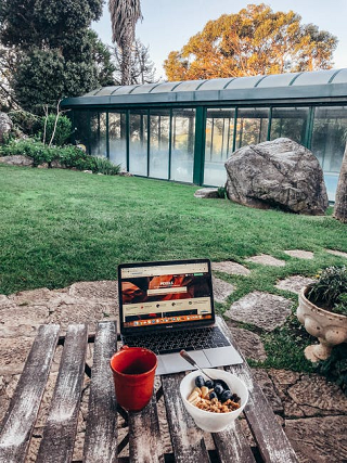 A laptop in the outdoors