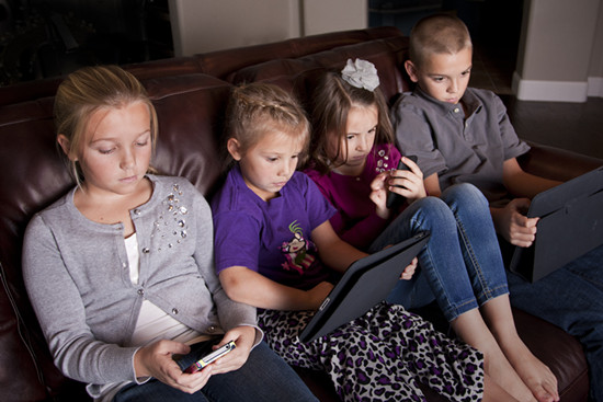 four kids spent too much time on screens