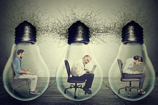 Concept image of employees working in dim lighting conditions