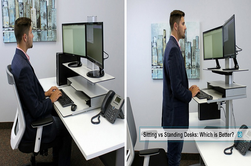 Showing the pros and cons of standing vs. sitting desks