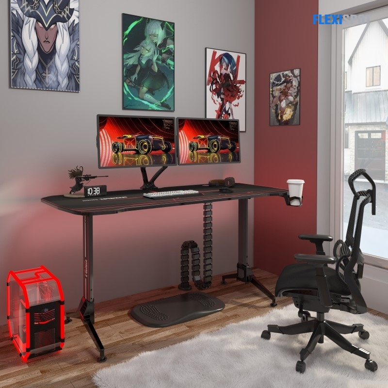 """Ergonomic Gaming Desk with Mouse Pad - 63"""" W"""