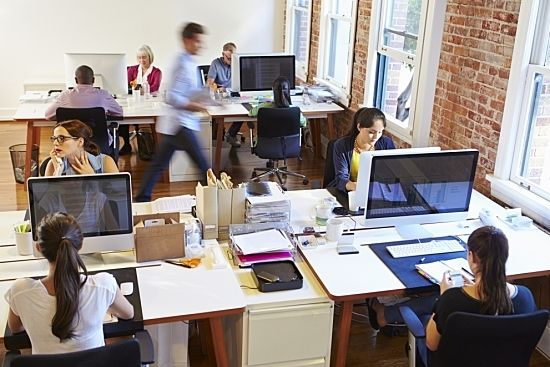 Workers in a busy office