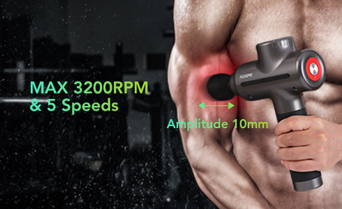 The FLEXISPOT percussive massage gun MG01 has 5 variable motor speeds ranging from 1200-3200RPM, which delivers a scientifically calibrated combination of 10 mm amplitude - the essential rejuvenating power required to relieve pain, enhance performance, improve range of motion, and accelerate recovery.