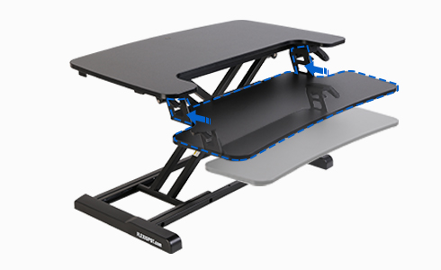 Easy one-step attachment and release gives you the option to use the desk riser with or without the keyboard tray.
