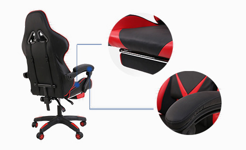 With its stylish red and black colorway, this gaming chair is a stylish addition to your home or gaming area. More importantly, its leather-clad seat cushion and padded armrests are sure to deliver consistent high-quality comfort.