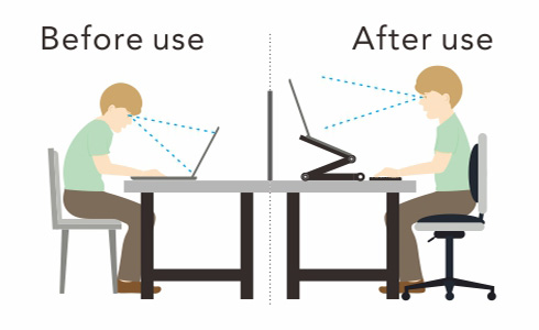 Use the FlexiSpot laptop desk so you can sit properly at a desk and eliminate neck and back pains.