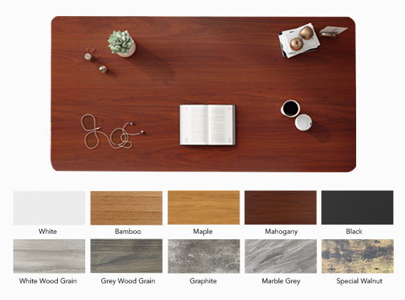 multiple desktop colors including maple, black, white, mahogany and so on.