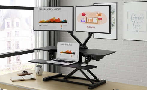 Feel free to use multiple monitors and adorn your workspace with all the accessories you love with our combined 55-pound weight capacity (44 lbs. for desktop, 11 lbs for keyboard tray)