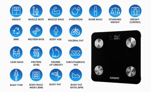 Simply step on the FlexiSpot digital smart scale to get 19 key body composition metrics including weight, body fat, hydration, body type, visceral fat, lean muscle, bone mass, BMI, BMR and metabolic age displayed on your smartphone via Bluetooth. This precision smart scale is perfect for tracking your weight loss and health progress. With this in-depth analysis, you'll have the accurate data you need to manage your health and fitness goals.