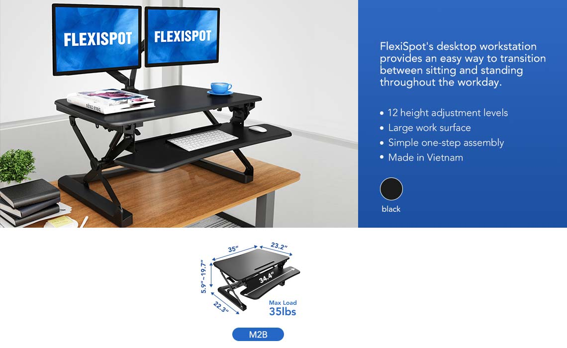 flexispot height adjustable standing desk 35""