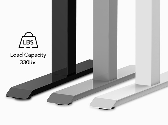 The industrial-grade steel frame and solid desktop combine to support a maximum weight capacity of up to 330 lbs so it can handle your ideal work setup with ease.