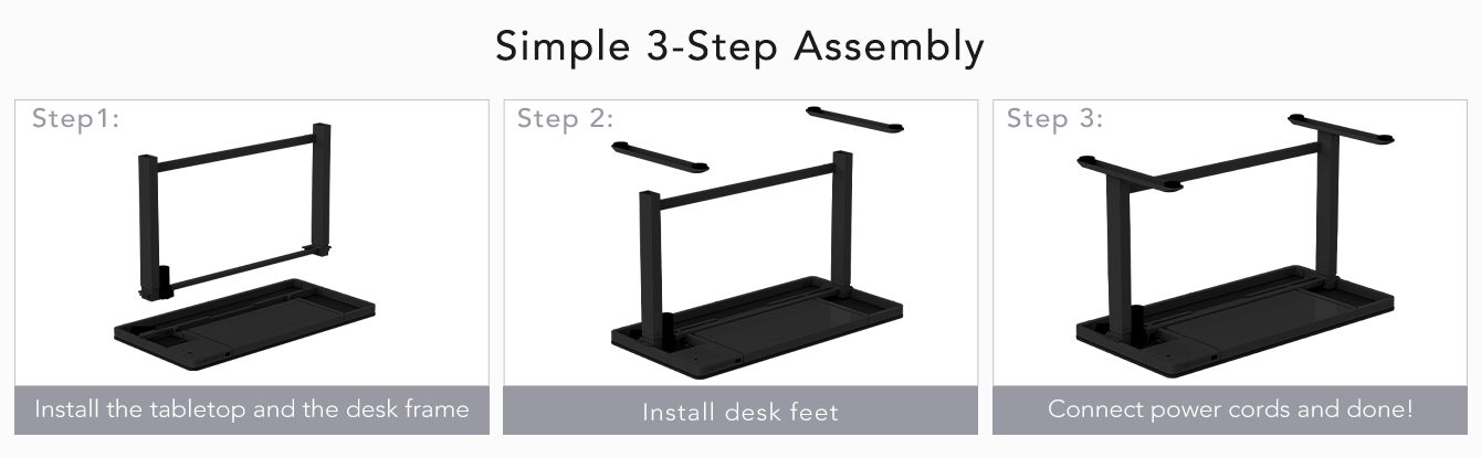 Comhar All-in-One Standing Desk Simple 3-Step Assembly