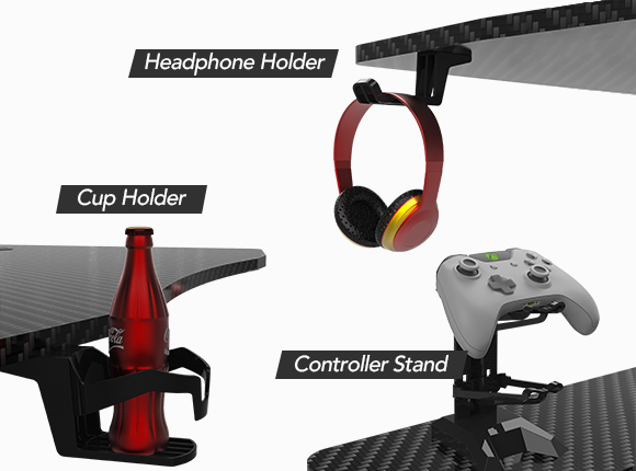 With a convenient cup holder, you can always have the beverage of your choice at hand while you work or play games, Keeping your drink in the perfect, out-of-the-way position with no worries about spillage.
