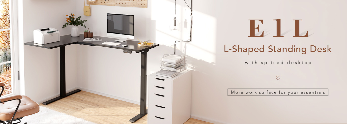 Adjustable Standing Desk large L-shaped work surface